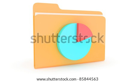 Folder with content icon on white background