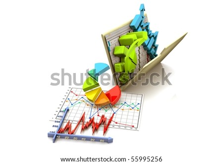 folder with diagram, chart, graph