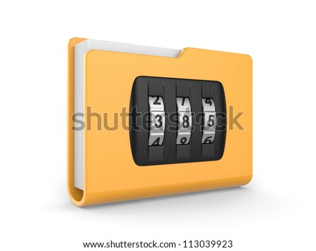 folder with dialing lock on a white background. security concept.