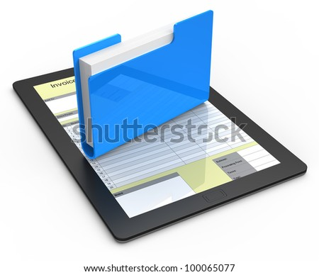 Folder with documents on tablet computer