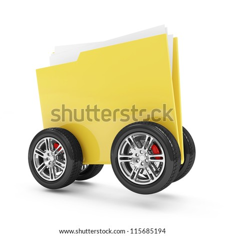 Folder with Documents on Wheels isolated on white background