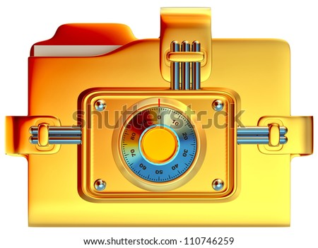 folder with golden combination lock stores confidential information