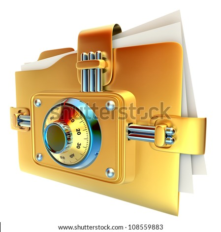 folder with golden combination lock stores important documents