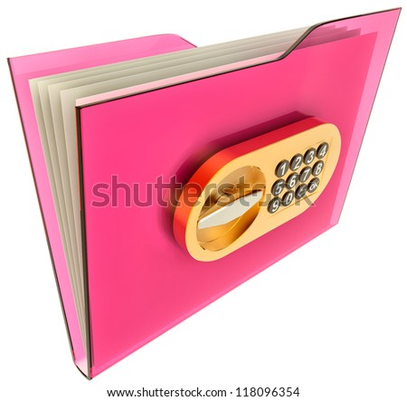 folder with golden combination lock stores important information