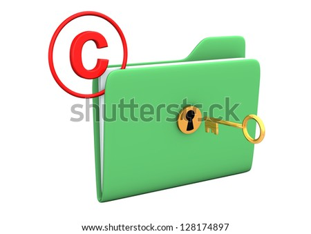 Folder with golden key and symbol of copyright.