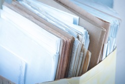 Folder with paper documents closeup