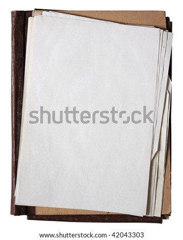 folder with stack of old papers isolated on white background with clipping path