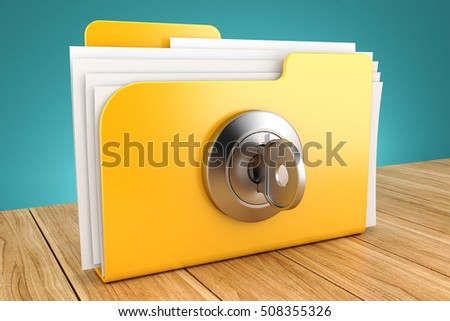 folder with the lock on a wooden table 3d #508355326