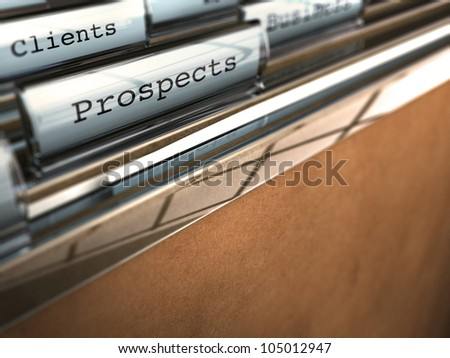 folder with the word prospects and at the backside another one where it is written client, brown paper and clear plastic