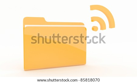 Folder with wifi Icon on wite background