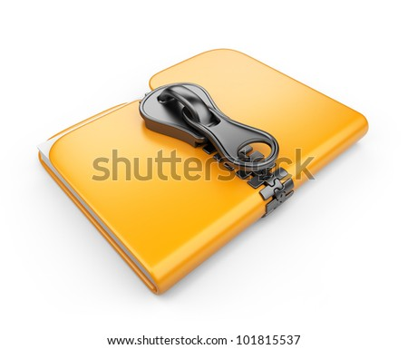 Folder with zip 3D. Compression of data. Isolated on white background - stock photo