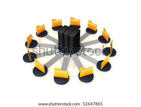 folders connected to a server - stock photo