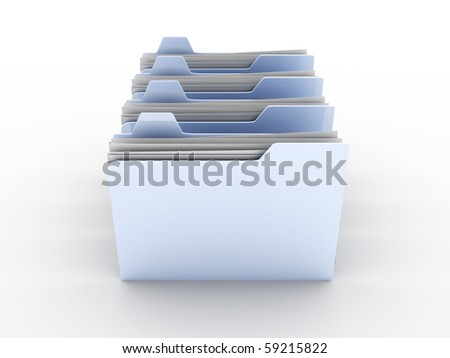 Folders. 3D rendered Illustration.