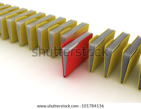 Folders. Data search concept. 3d rendered image