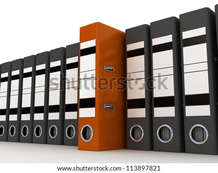 Folders for documents, 3D images - stock photo
