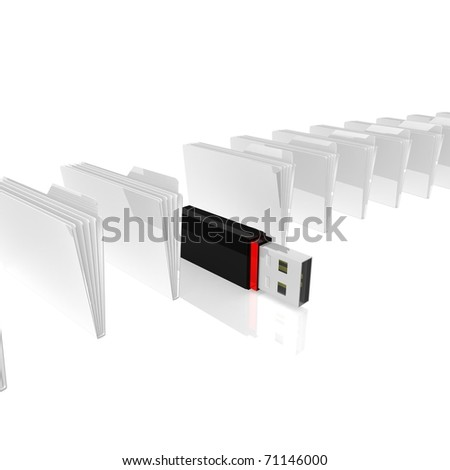 Folders for papers are in the range between which is a computer flash drive