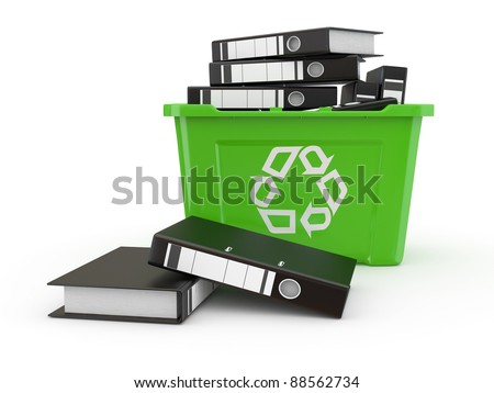 Folders in recycle bin on white background. 3d