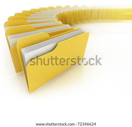 folders in rush 3d concept - many folders on the white background