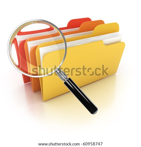 folders search 3d icon - folders under the magnifier isolated on white