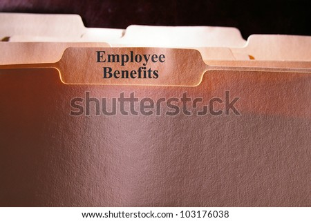 folders with Employee Benefits text