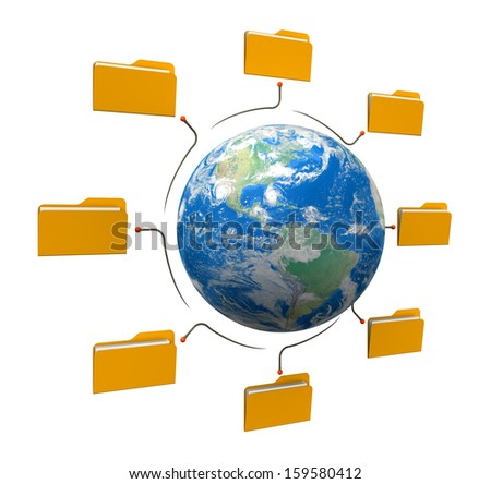 Folders world network structure. Earth map provided by NASA