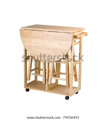Folding And Movable Wooden Table With Drawers For Little