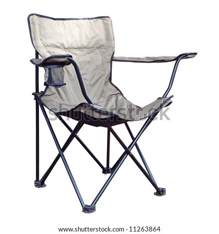 Folding Chair with Drink Holder. Isolated with clipping path - stock photo