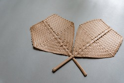 Folding fan make from basketry as local Thai style
