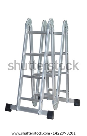 Folding Ladder In the open position on white background. convenient ladders ,Light weight, these ladders fold into a compact bundle for storing or carrying.                        #1422993281