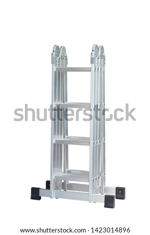 Folding Ladder In the open position on white background. convenient ladders ,Light weight, these ladders fold into a compact bundle for storing or carrying.                                             #1423014896