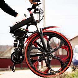 folding mountain bike on cast discs