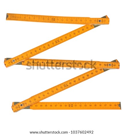 Folding rule. Tape measure illustration. Isolated on white background. Width and length. Measurement tool.  #1037602492
