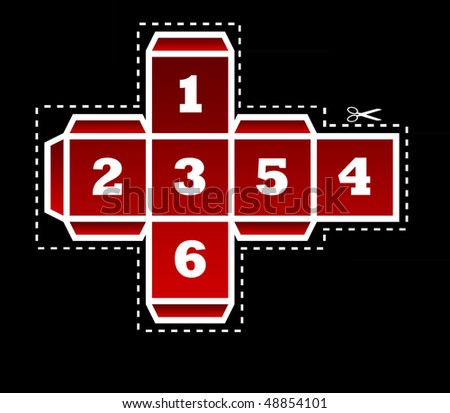 Folding template for red dice in two dimensions, isolated on black background.