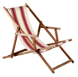 Folding wooden deckchair or beach chair with striped red and white canvas seat isolated on white