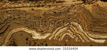 Folds in rock caused by faulting.