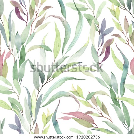 Foliage seamless pattern of colorful branches with leaves, watercolor floral illustration on white background. Foto stock ©