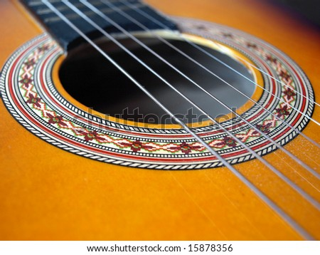 Folk acoustic six string guitar detail