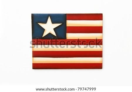 Folk Art Wood American US Flag isolated on white background
