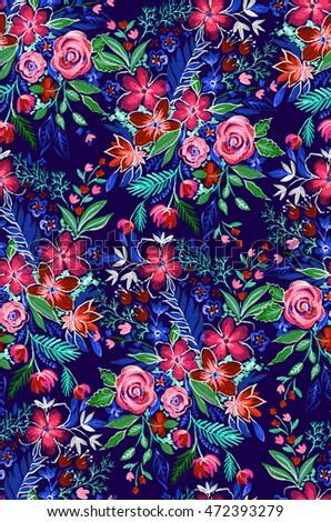folk artistic pattern. seamless floral design with ditsy flower motives.
