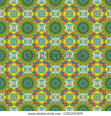 Folk ethnic floral ornamental mandala in green, blue and yellow colors. Abstract colorful painted kaleidoscopic graphic background. Seamless background pattern.