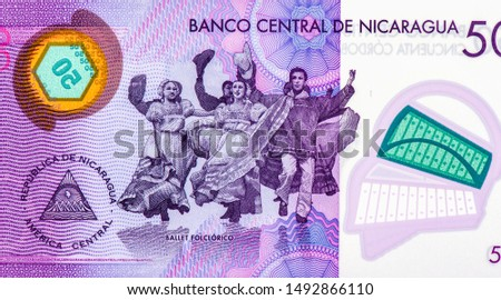 Folkloric ballet dancers. portrait from Nicaragua 50 Cordobas 2014 Banknotes. Nicaraguan money Closeup Collection. #1492866110