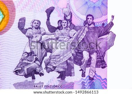 Folkloric ballet dancers. portrait from Nicaragua 50 Cordobas 2014 Banknotes. Nicaraguan money Closeup Collection. #1492866113
