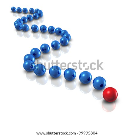 Follow the leader and power leadership concept with blue spheres as followers and a single red ball as the authority guiding with a plan and business group strategy for team success on white.