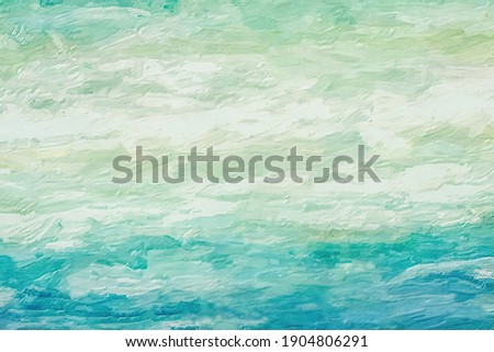 Follow the waves as they drift out to sea.  This abstract has textured brush strokes to indicate moving water and the beautiful green colors are lovely. ストックフォト ©
