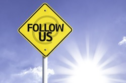Follow Us road sign with sun background