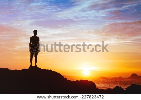 Follow your dreams, silhouette of man at sunset #227823472