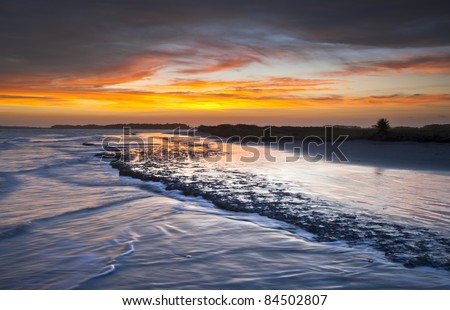 Folly Beach Ocean Sunset Charleston SC Landscape seascape scene in South Carolina