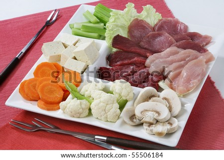 Fondue Ingredients Containing Meat And Vegetables Stock Photo 55506184 ...