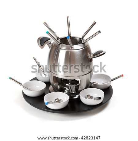 Fondue set for six, isolated. Clipping path - stock photo