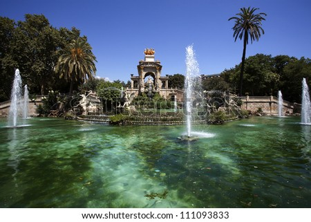 Font de la Cascada fountain in Parc de la Ciutadella in Barcelona, Catalonia, Spain - stock photo